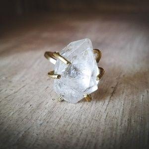 """Serene Dream""- Quartz Solid Brass Ring"